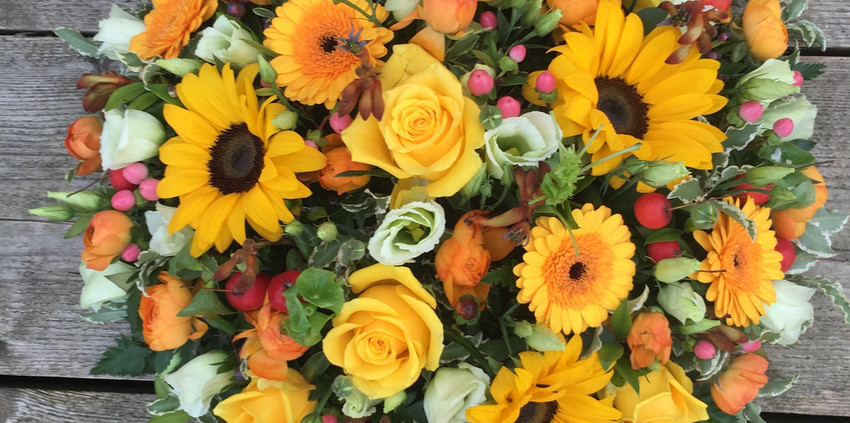 Funeral Posy - With Sunflowers