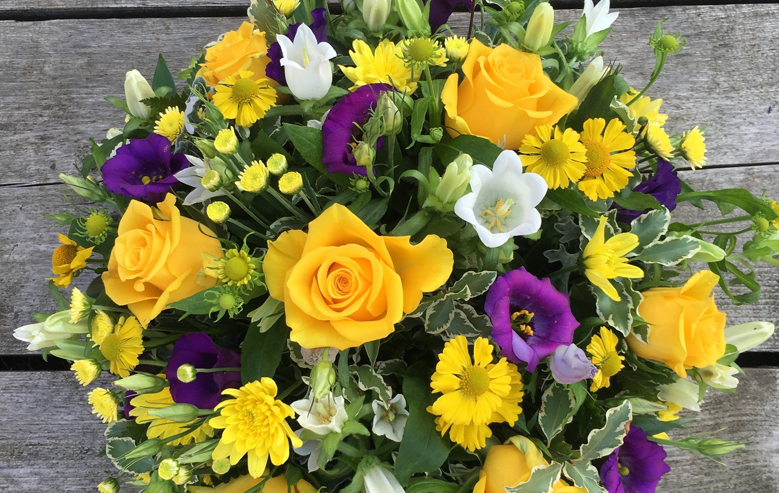 Funeral Posy - Yellows and Purples