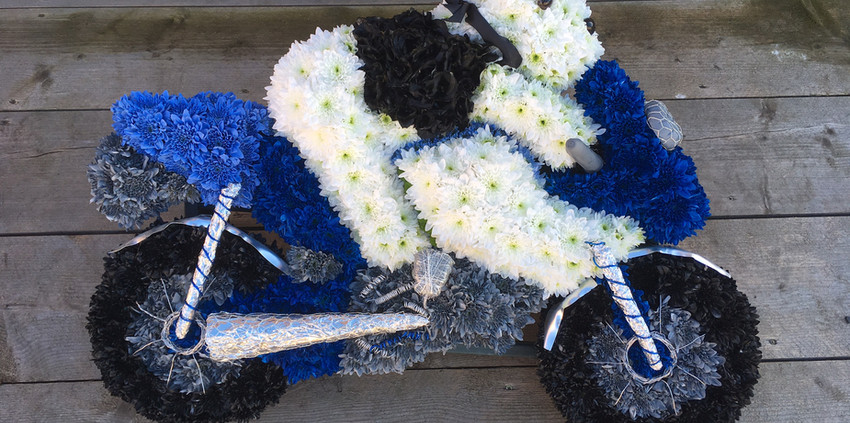 Bespoke Floral Tribute - Motorbike with bear