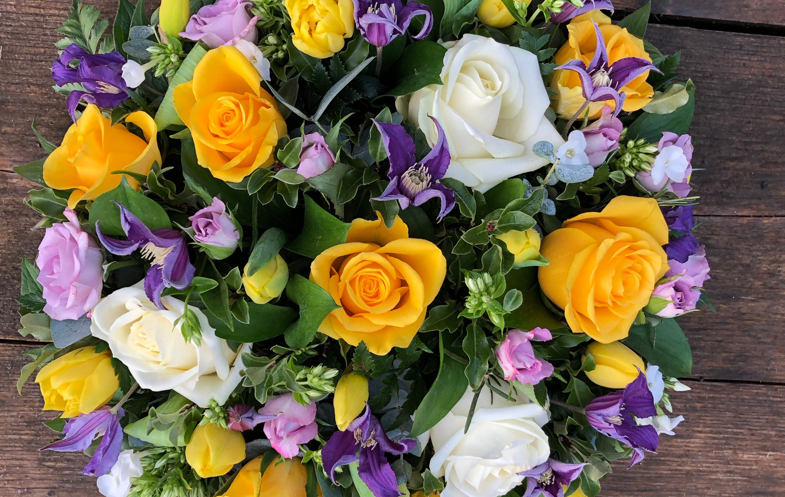 Funeral Posy - Yellow Roses with purple and white