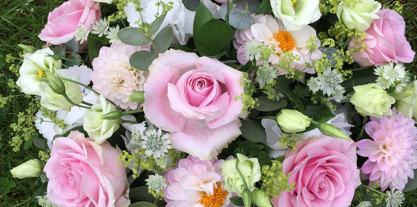 Funeral Posy - Pink and White