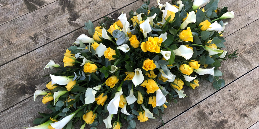 Double Ended Spray - Yellow Roses and White Calla Lilies