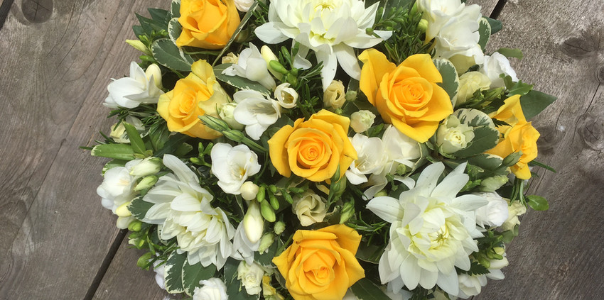 Funeral Posy - With Yellow Roses