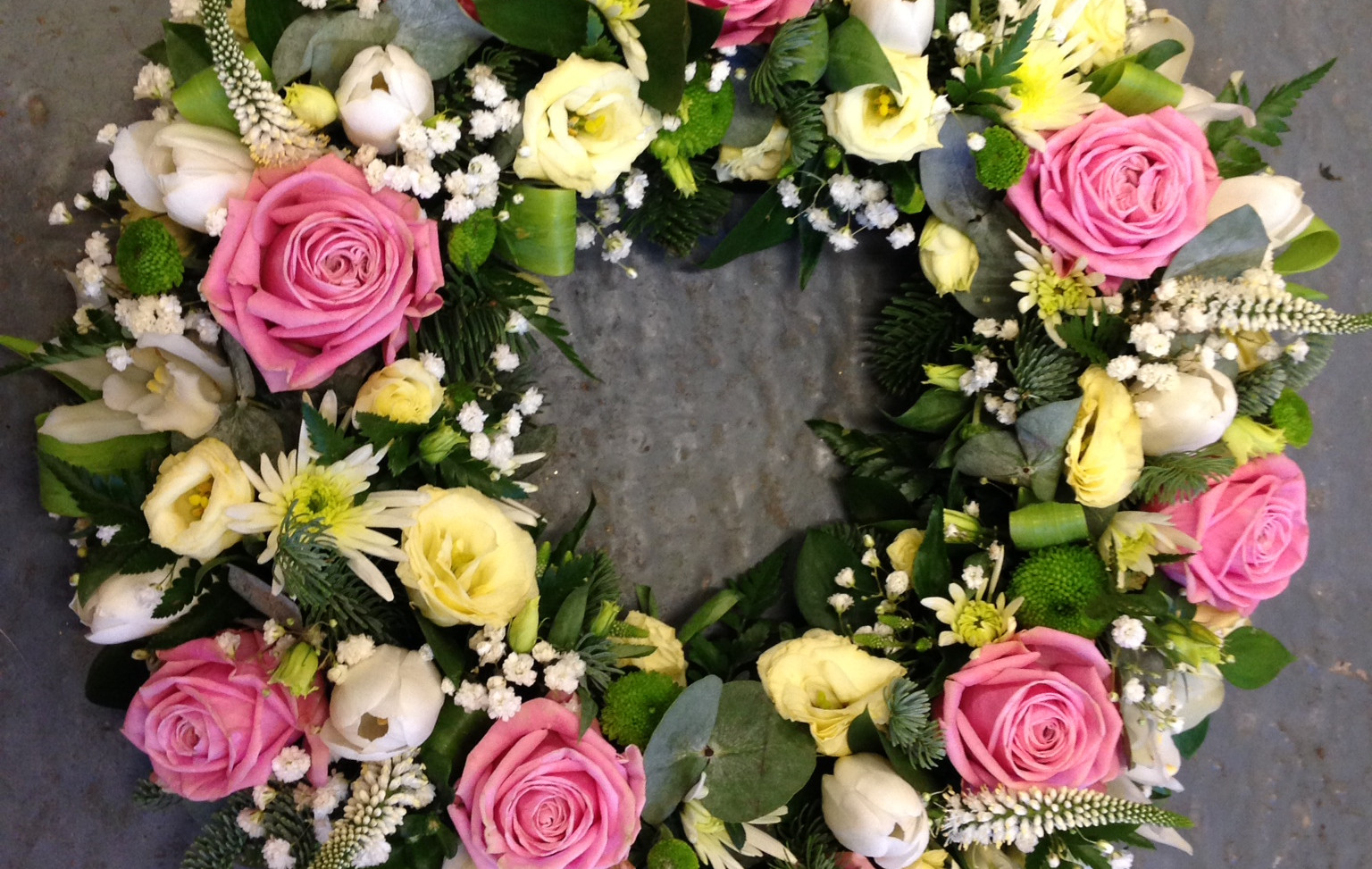 Funeral Wreath - With Pink Roses