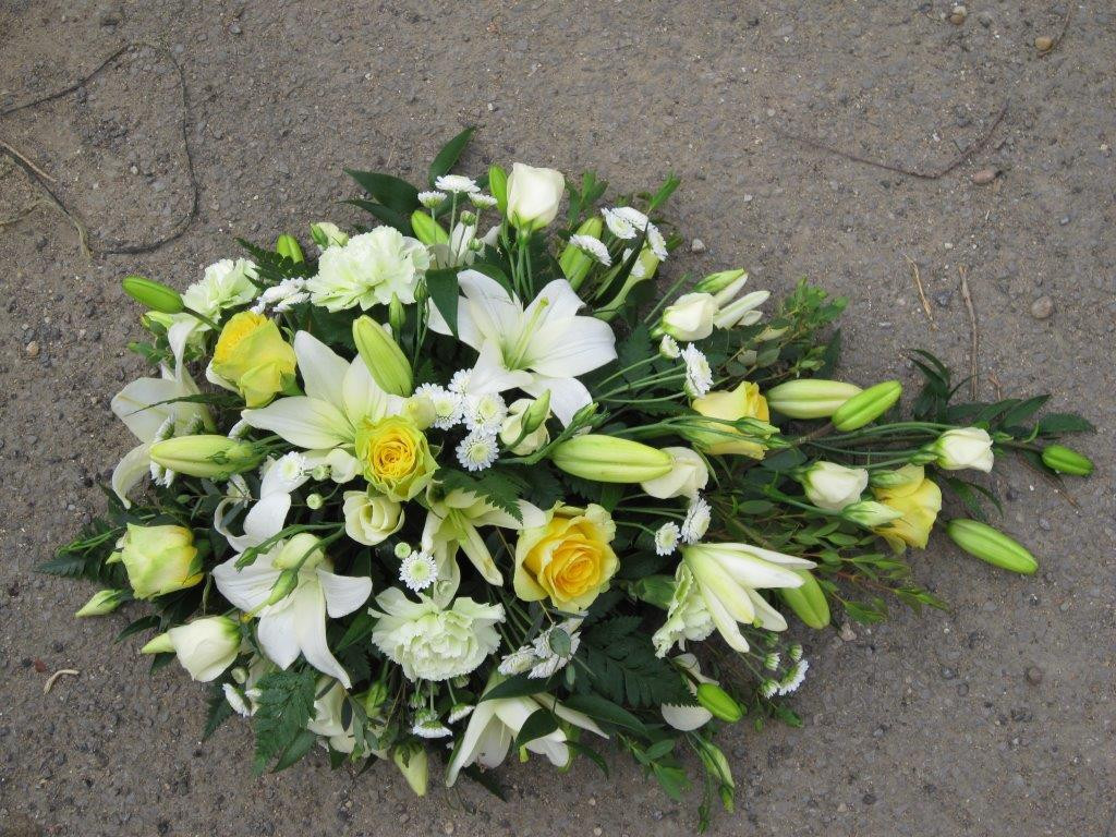 Single Ended Spray - White Lilies and Yellow Roses