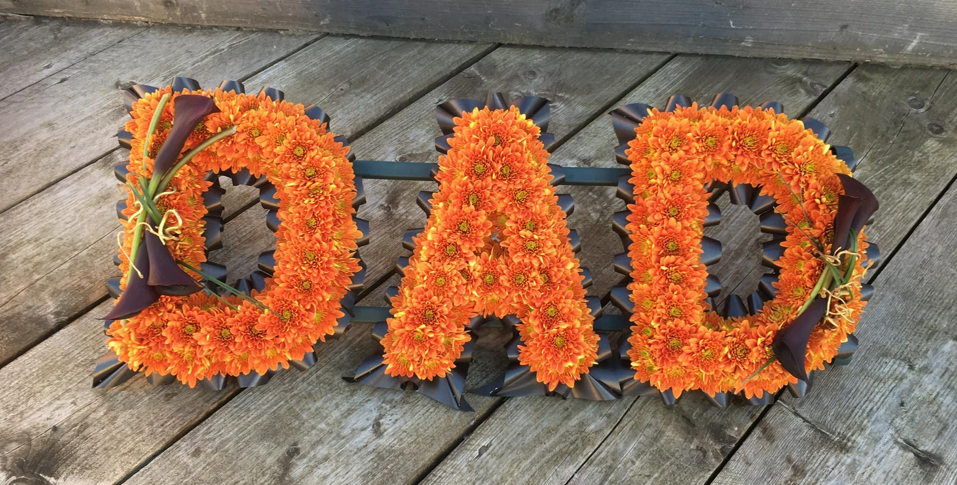 Floral Lettering - Dad in oranges