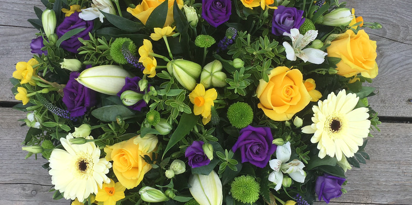 Funeral Posy - Yellow White and Purples