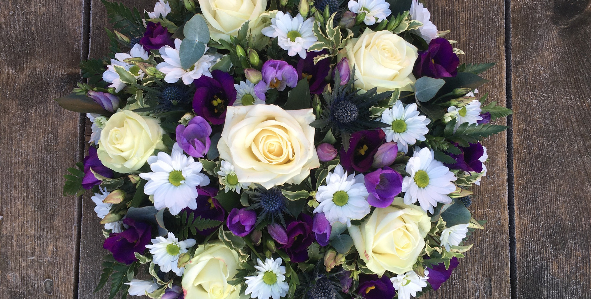 Funeral Posy - White Roses and Purples