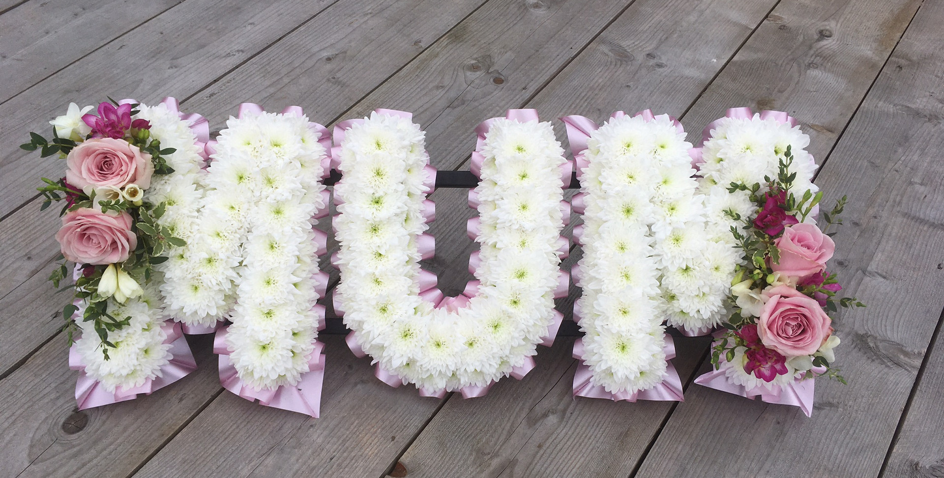 Floral Lettering - Mum - Pinks