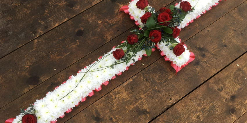 Based Cross - Red Roses
