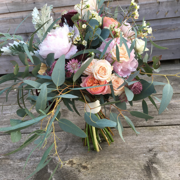 Hand Tied Bouquet Pink and Peach