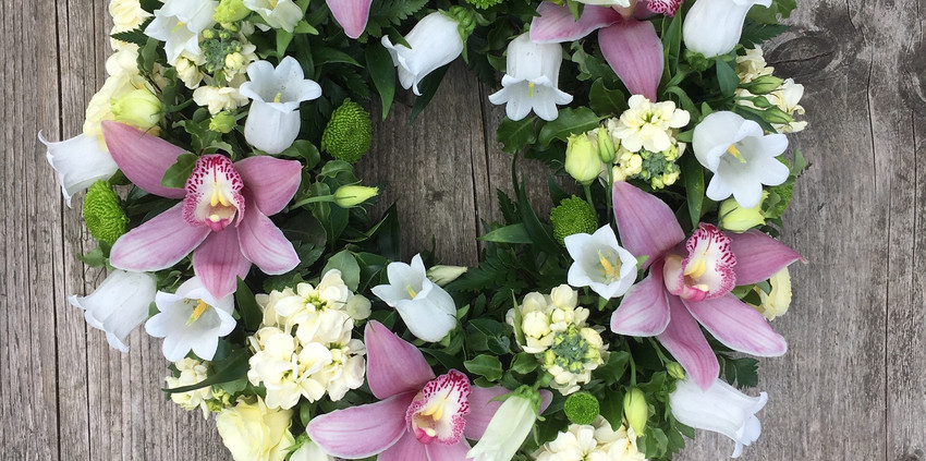 Funeral Wreath - Pink and Whites