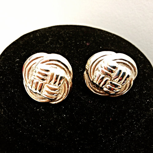 Sterling Silver Button Earrings