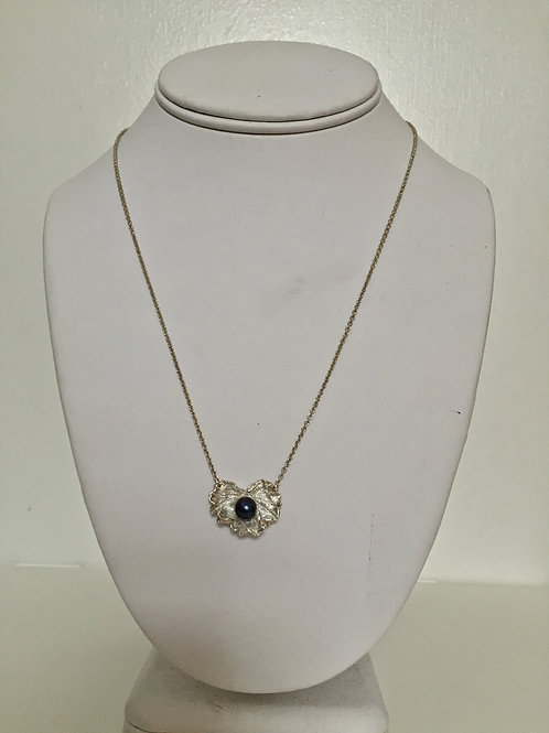 Black Pearl and Sterling Silver Geranium Necklace
