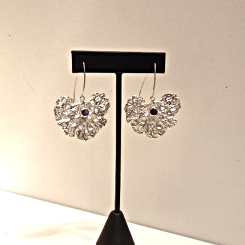 Amethyst and SS Large Geranium Leaf Earring
