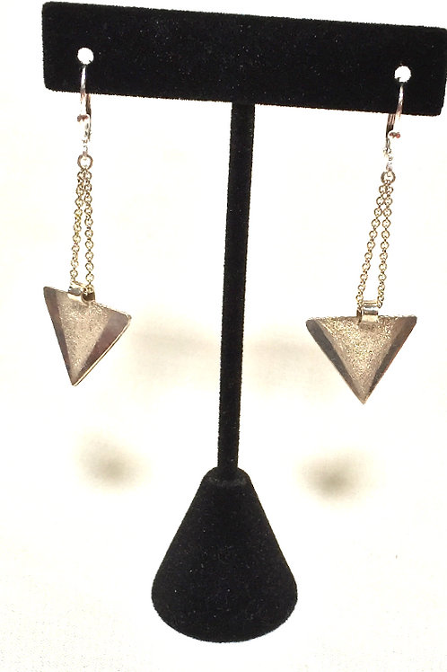 Sterling Silver Triangles on Chain Earring