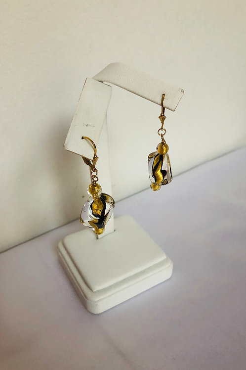 Black and Gold Murano Earrings