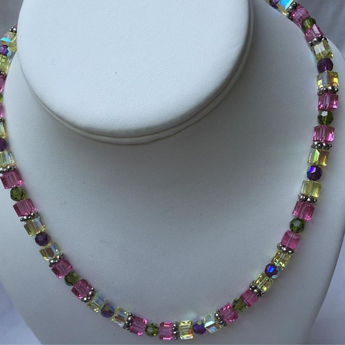 Pink and Yellow Swarovski Necklace