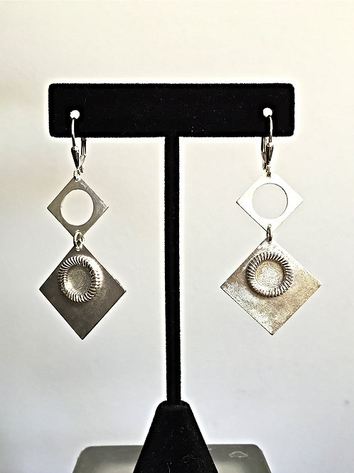 Sterling Silver Two Square Earrings