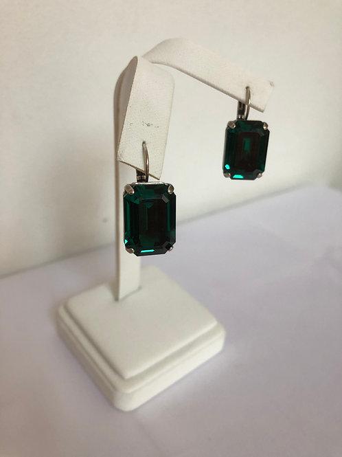 Emerald Swarovski Octagon Earrings
