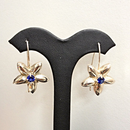 Sterling Flower Earrings with Lab-made Sapphire