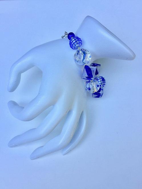 Blue Venetian Bead & Sterling Silver Bracelet