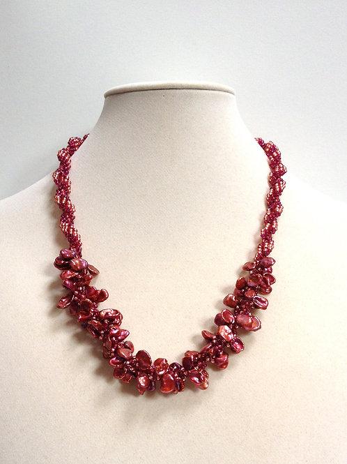 Keishi Pinkish Wine Pearl Necklace