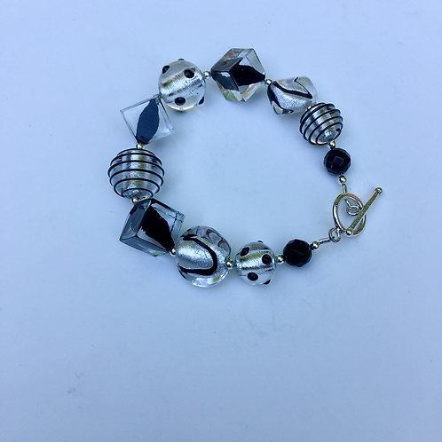 Black Venetian Bead & SS Bracelet
