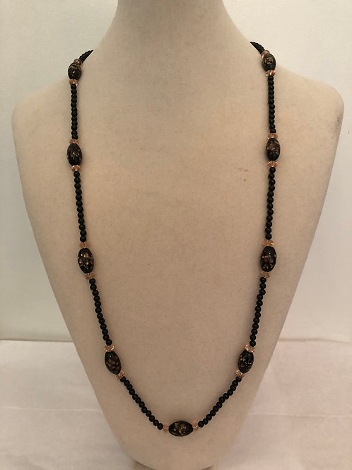 Black and Peach Strung Beads Necklace