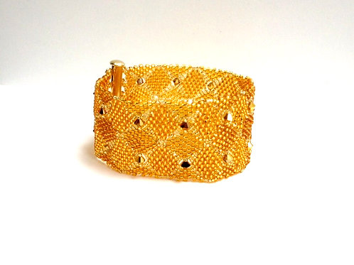 Gold Seed Beads Bracelet and Gold Filled Clasp