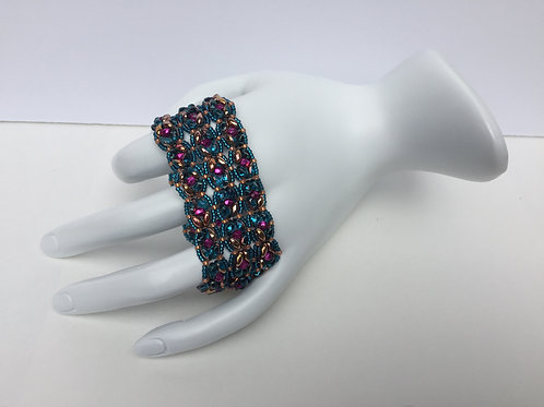 Three Strand SuperDuo Bracelet in Blue and Copper