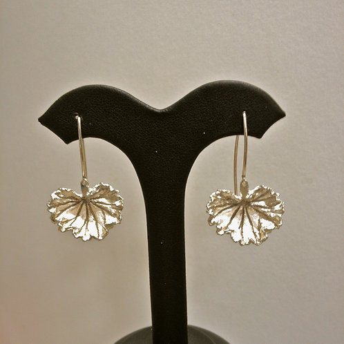 Small Geranium Sterling Silver Earring