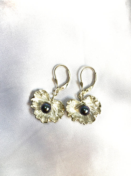 Sterling Silver Geranium Leaves with Black Pearls