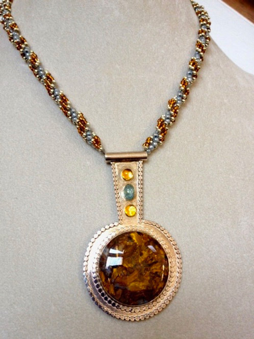 Beaded Necklace with Sterling Silver & Pietresite Pendant