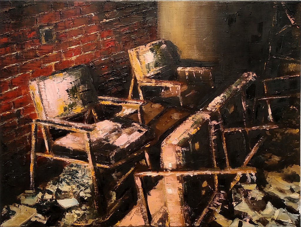 Waiting room (7), 2019, 60 x 80 cm. Oil on canvas