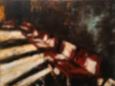 Artist, Painter, Jarik Jongman-Waiting room (5), 2019, 60 x 80 cm. Oil on canvas