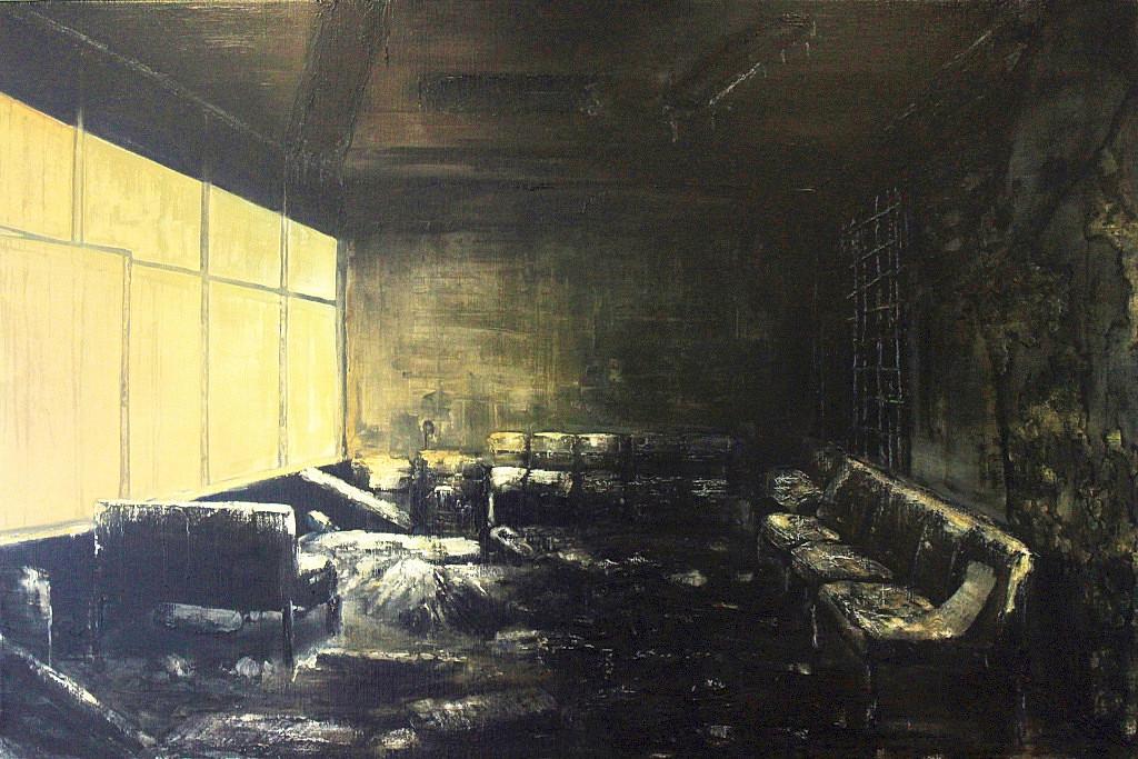 Jarik Jongman-Waiting room (1), 2011, 120 x 180 cm. Oil on canvas
