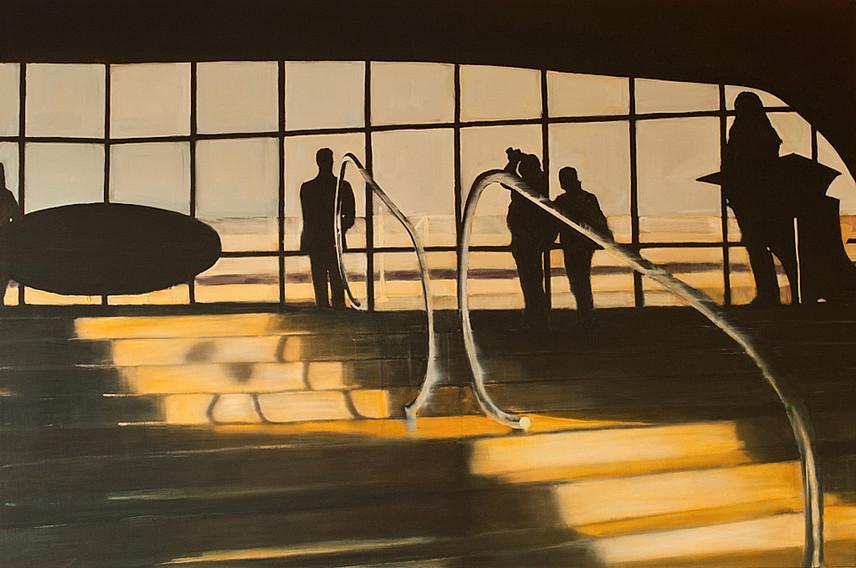 Jarik Jongman-Waiting room (3), 2013, 100 x 150 cm. Oil on canvas