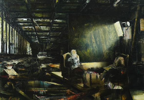 The conversation, 140 x 200 cm.  Oil on