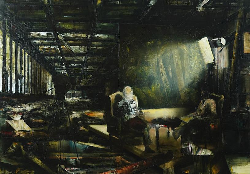 The conversation, 2019, 140 x 200 cm.  Oil on canvas