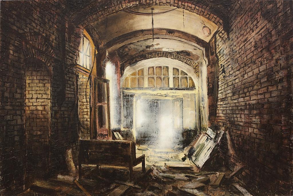 Jarik Jongman-Waiting room (4), 2014, 100 x 150 cm. Oil on canvas