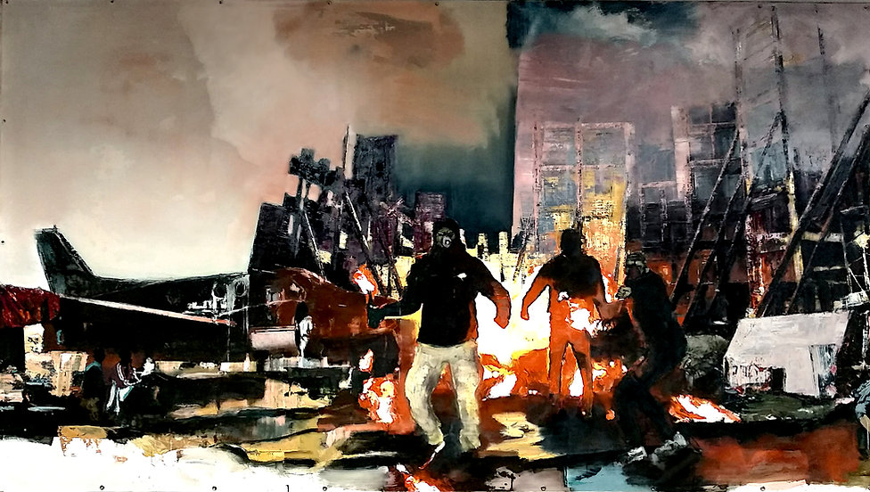 The uprising, 2020, 225 x 400 cm. Oil and emulsion on canvas