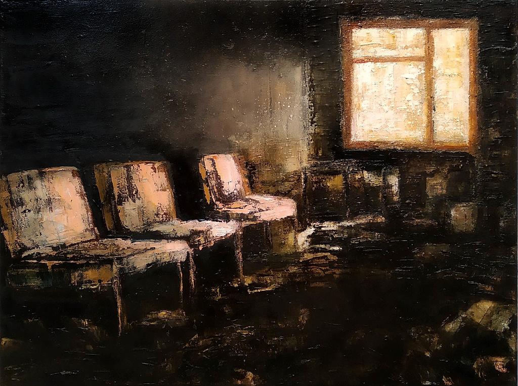 Waiting room (6), 2019, 60 x 80 cm. Oil on canvas