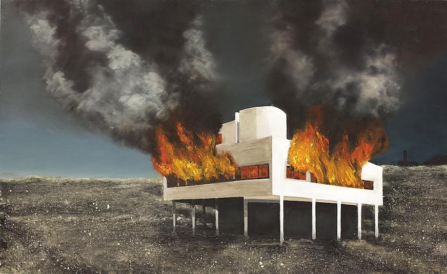 Jarik Jongman-Villa Savoye, 2017, 122 x 200 cm.  Oil, acrylic, plaster, tar, ashes on board