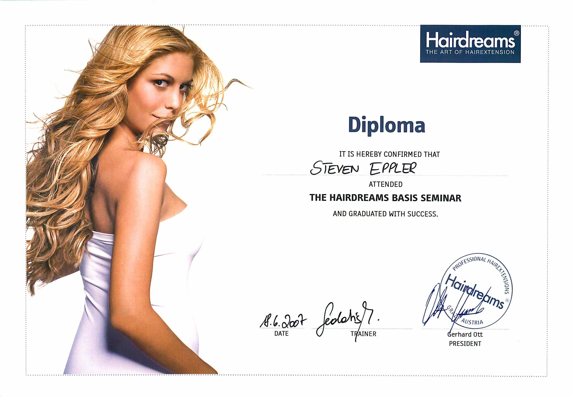 Diploma Hairdreams Extensions