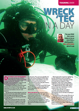 PADI wreck detective course, a commisioned feature fo DIVER magazine