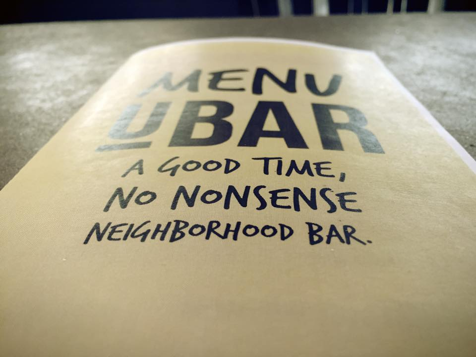 Menu design, UBAR Philadelphia.