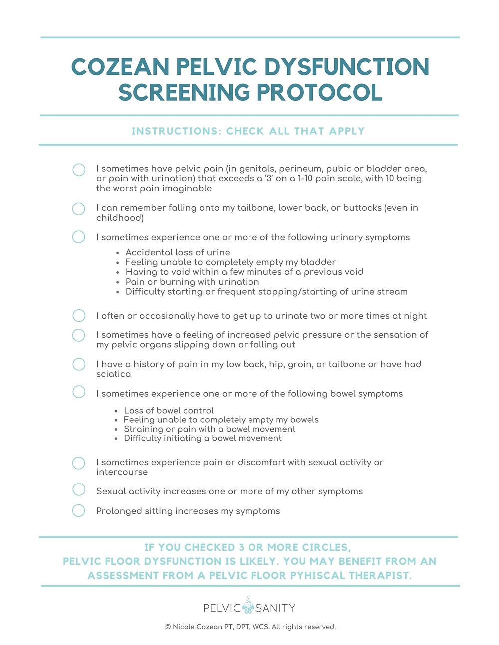 Pelvic Health Screening Protocol