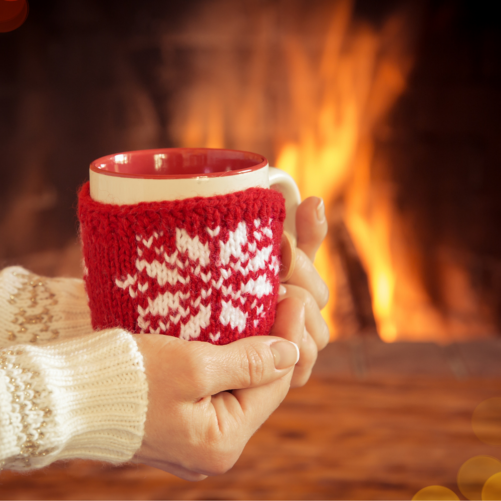 A roaring fire and a cup of warm beverage