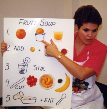 teaching cooking to young children with an illustrated recipe on a poster board